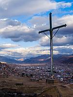 CUSCO, PERU - CIRCA SEPTEMBER 2019:  View of Cusco from Saqsaywaman.