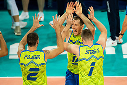 Urnaut Tine #17 (SLO) with Stern Toncek #1 (SLO) and Pajenk Alen #2 (SLO) during volleyball match between National teams of Slovenia and Finland in 2nd Round in Group C of 2019 CEV Volleyball Men's European Championship in Ljubljana, on September 14, 2019 in Arena Stozice. Ljubljana, Slovenia. Photo by Grega Valancic / Sportida