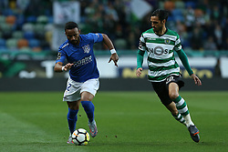February 11, 2018 - Lisbon, Lisboa, Portugal - Feirense forward Edson Farias from Brasil (L) and Sporting CPs forward Bryan Ruiz from Costa Rica (R) during the Premier League 2017/18 match between Sporting CP and CD Feirense at Estadio Jose Alvalade on February 11, 2018 in Lisbon, Portugal. (Credit Image: © Dpi/NurPhoto via ZUMA Press)