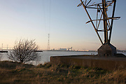 The leg of an electricity pylon carrying lines 1.3km over the Thames from Botany Marshes, Swanscombe, Kent to Thurrock, Essex.