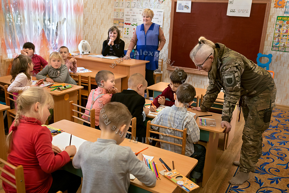 Julia Paevska is visiting a kindergarten in Myronivs'kyi, a small town near the frontline of eastern Ukraine.