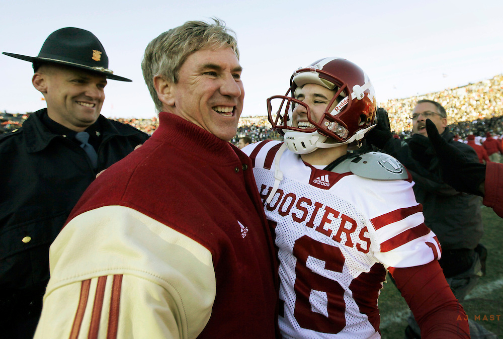 27 November 2010: Indiana Coach Bill lynch and Indiana Hoosiers kicker Mitch Ewald (16) celebrate after winning the Old Oaken Bucket as the Purdue Boilermakers played the Indiana Hoosiers in a college football game in West Lafayette, Ind.