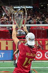 December 8, 2018 - Atlanta, Georgia, United States - Atlanta United forward HECTOR VILLALBA (15) holds up the MLS Cup to the supporters at Mercedes-Benz Stadium in Atlanta, Georgia.  Atlanta United defeats Portland Timbers 2-0 (Credit Image: © Mark Smith/ZUMA Wire)