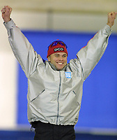 Calgary, Canada. 9 Dec. 2001 - Skøyter,  At the Essent ISU World Cup Speed Skating event in Calgary, Adne Sonderal from Norway stands on the podium and celebrates his win in the 1500 metre men's event. His time was 1:45:81.  Ådne Søndrål (Larry MacDougal, Digitalsport)