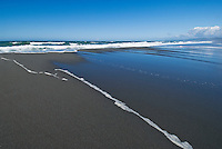 Cold waters of the Pacific ocean wash over sand and Gold Bluffs beach, Prairie Creek Redwoods State Park, California