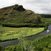 Wailua River winds it's way on the island of Kauai in Hawaii.