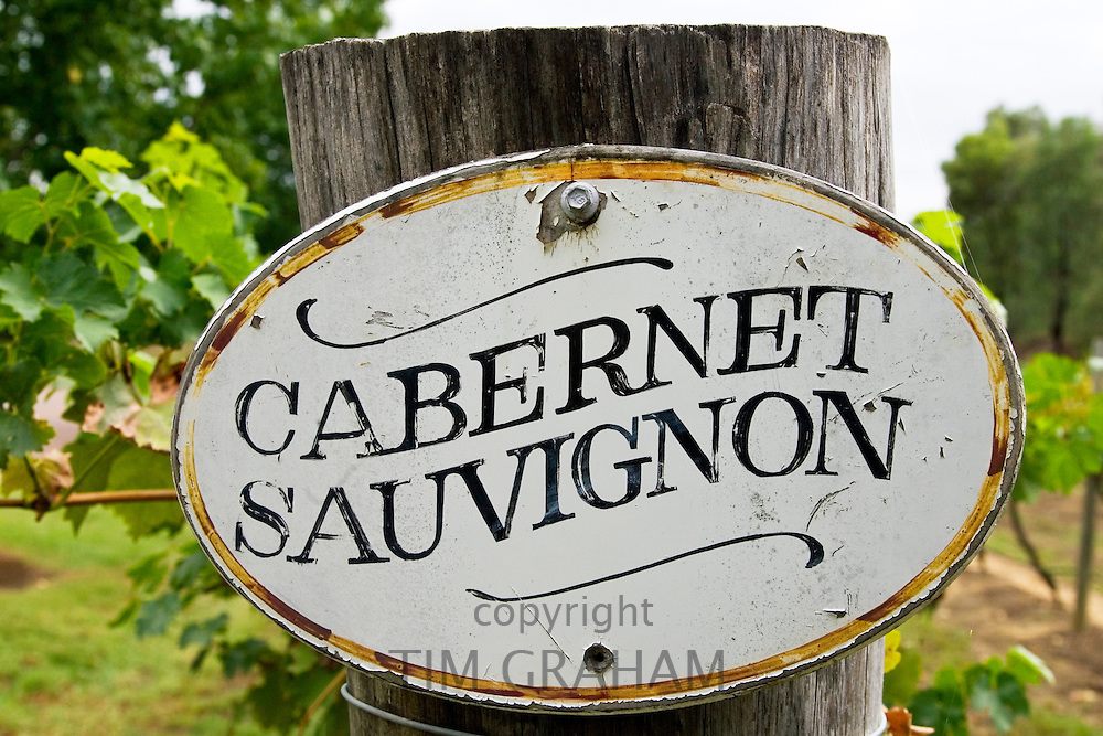 Cabernet Sauvignon sign in the Pepper Tree Winery, Hunter Valley, Australia