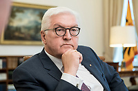 02 JUL 2018, BERLIN/GERMANY:<br /> Frank-Walter Steinmeier, Bundespraesident, waehrend einem Interview, Amtszimmer des Bundespraesidenten, Schloss Bellevue<br /> IMAGE: 20180702-01-013<br /> KEYWORDS: Bundespräsident