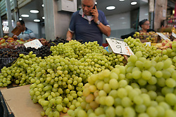 Grapes on a market stall in Machane Yehuda market in Jewish west Jerusalem. From a series of travel photos taken in Jerusalem and nearby areas. Photo date: Monday, July 30, 2018. Photo credit should read: Richard Gray/EMPICS