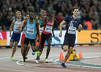 Athletics - 2017 IAAF London World Athletics Championships - Day Five, Evening Session<br /> <br /> Mens 800m Final<br /> <br /> Pierre -Ambroise Bosse rounds the final bend and maintains his lead to the finish to win the gold medal at the London Stadium<br /> <br /> COLORSPORT/DANIEL BEARHAM