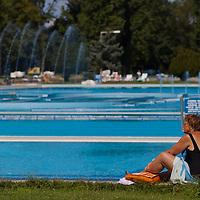 Bath goer enjoys her summer time in Budapest, Hungary. Sunday, 29. August 2010. ATTILA VOLGYI
