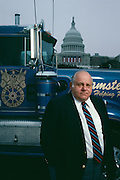 Teamster Boss president Jackie Presser in front of the Capitol Building before Reagan's Inauguration in 1981.