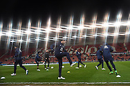 Everton players warming up before the match.Barclays Premier League match, Stoke city v Everton at the Britannia Stadium in Stoke on Trent , Staffs on Wed 4th March 2015.<br /> pic by Andrew Orchard, Andrew Orchard sports photography.
