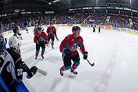 KELOWNA, CANADA - MARCH 16: Cayde Augustine #5 of the Kelowna Rockets skates to the bench to celebrate a first period goal against the Vancouver Giants  on March 16, 2019 at Prospera Place in Kelowna, British Columbia, Canada.  (Photo by Marissa Baecker/Shoot the Breeze)