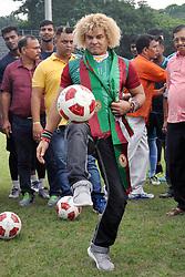 September 8, 2017 - Kolkata, West Bengal, India - Colombian former footballer Carlos Alberto Valderrama Palacio (Valderrama) participates in a soccer event at Mohunbagan Club football ground on September 8, 2017 in Kolkata. (Credit Image: © Saikat Paul/Pacific Press via ZUMA Wire)