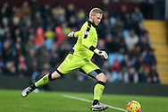 Kasper Schmeichel, the Leicester city goalkeeper in action. Barclays Premier league match, Aston Villa v Leicester city at Villa Park in Birmingham, The Midlands on Saturday 16th January 2016.<br /> pic by Andrew Orchard, Andrew Orchard sports photography.