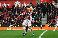 Marko Arnautovic of Stoke City shields the ball from Martin Demichelis of Manchester City. Barclays Premier league match, Stoke city v Manchester city at the Britannia Stadium in Stoke on Trent, Staffs on Saturday 5th December 2015.<br /> pic by Chris Stading, Andrew Orchard sports photography.