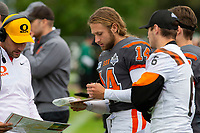 KELOWNA, BC - SEPTEMBER 22: Coach Nagy and quarterback Kai Sampson #14 of Okanagan Sun discuss stats at the sideline against the Valley Huskers at the Apple Bowl on September 22, 2019 in Kelowna, Canada. (Photo by Marissa Baecker/Shoot the Breeze)