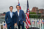 DUNCAN STIRLING; CHARLIE GILKES; , Charlie Gilkes and Duncan Stirling host Inception Group's Hamptons Garden party on the rooftop garden of the Ballymore marketing suite overlooking the site of the new US embassy. Embassy Gardens, London SW8.  12 July 2012.