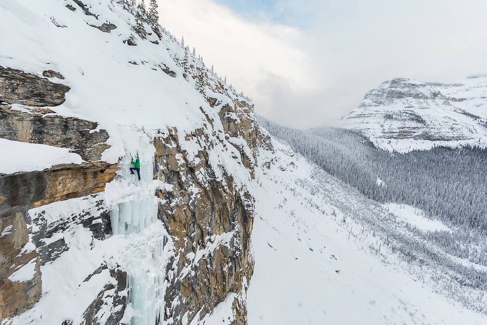 Ryan Richardson soloing the ice climb Cold Choice WI5 in harder conditions ~85m at Emerald Lake in Yoho National Park, British Columbia, Canada