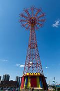 The steel tower of the parachute jump at Coney Island, first erected for the 1939 World's Fair in Queens, and moved to Coney Island in 1941, was decommissioned as an active ride, but is still lit up on some weekend nights.