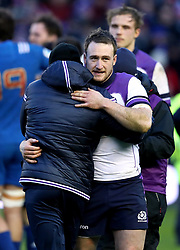 Scotland's Stuart Hogg (right) after the final whistle during the NatWest 6 Nations match at BT Murrayfield, Edinburgh.