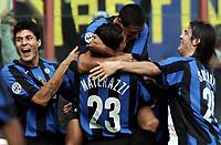 Fotball<br /> Serie A Italia<br /> Foto: Graffiti/Digitalsport<br /> NORWAY ONLY<br /> <br /> 16/10/05 <br /> Inter v Livorno 5-0<br /> <br /> Ivan Cordoba celebrates after scoring with his teammates Julio Cruz, Marco Materazzi and Solari
