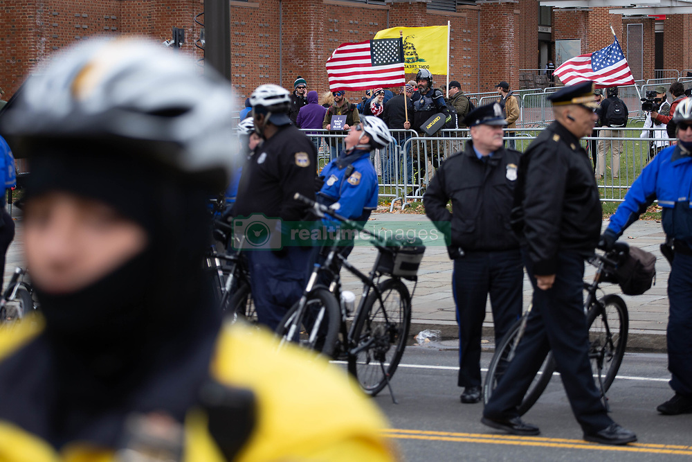 November 17, 2018 - Philadelphia Police create a buffer between protestors and the ''We the People'' rally across the street, expected to draw members of far-right groups including the ''Proud Boys'' and attendees of Unite the Right, November 17, 2018. (Credit Image: © Michael Candelori/ZUMA Wire)
