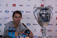 Tennis - 2019 Nitto ATP Finals at The O2 - Day Six<br /> <br /> Singles Group Andre Agassi: Rafael Nadal (Spain) Vs. Stefanos Tsitsipas (Greece)<br /> <br /> Rafael Nadal (Spain) with his ATP World No.1 Trophy face the press at his news conference <br /> <br /> COLORSPORT/DANIEL BEARHAM<br /> <br /> COLORSPORT/DANIEL BEARHAM