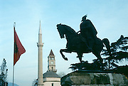 Skenderbeg's monument in Tirana, Albania. Tirana is the capital of Albania and also its industrial, cultural, and economic center.