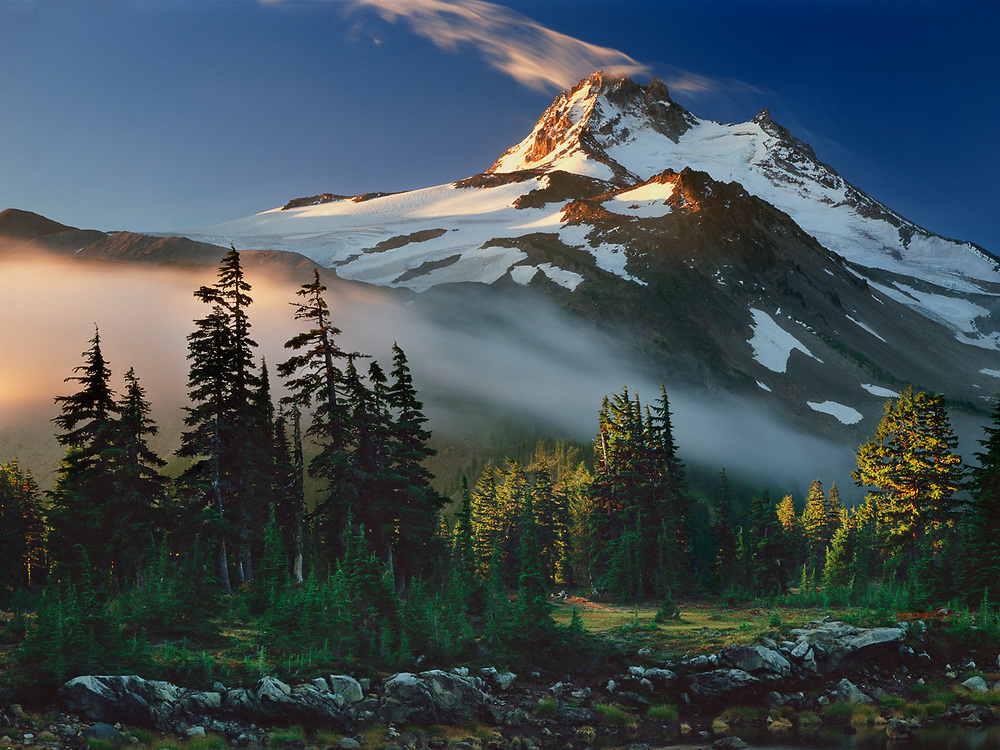 Mount Jefferson (10,495') receives early morning light, view from Jefferson Park, Mount Jefferson Wilderness, Cascade Range, Oregon, USA.