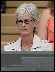 Image ©Licensed to i-Images Picture Agency. 02/07/2014. London, United Kingdom. Andy Murray's mum Judy  watch Murray loses the Men's  Quarter Finals on centre court in the Royal box at  Wimbledon. Picture by Andrew Parsons / i-Images