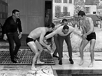 Fotball<br /> England<br /> Foto: Colorsport/Digitalsport<br /> NORWAY ONLY<br /> <br /> Chelsea historikk<br /> Harry Medhurst (Chelsea trainer) is thrown into the swimming pool by John Boyle, Ron Harris and Peter Osgood. Bobby Tambling (left). Chelsea team @ Norbreck. 5/10/66