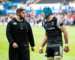 Justin Tipuric of Ospreys with team-mate Nicky Smith head to the stands to sign autographs <br /> <br /> Photographer Simon King/Replay Images<br /> <br /> Guinness PRO14 Round 18 - Ospreys v Dragons - Saturday 23rd March 2019 - Liberty Stadium - Swansea<br /> <br /> World Copyright © Replay Images . All rights reserved. info@replayimages.co.uk - http://replayimages.co.uk