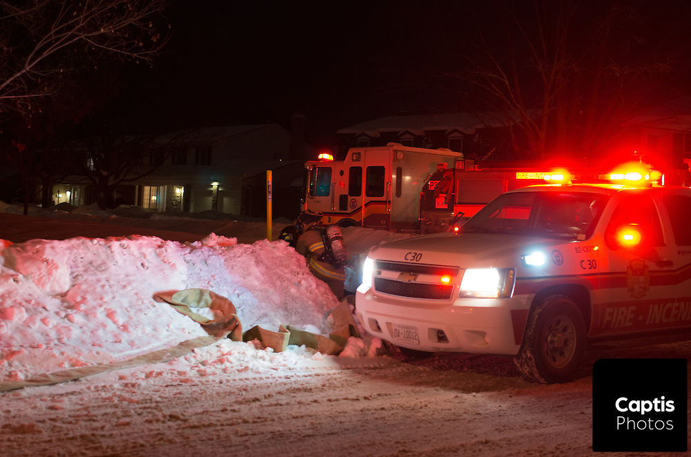 House fire on Kodiak street in Ottawa's south end. One person was found without vital signs. February 7, 2015.