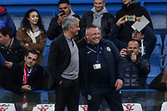 the Manager of Manchester United and former Chelsea manager Jose Mourinho shares a joke with a security official at Chelsea ahead of the game.<br /> Premier league match, Chelsea v Manchester United at Stamford Bridge in London on Sunday 5th November 2017.<br /> pic by Kieran Clarke, Andrew Orchard sports photography.