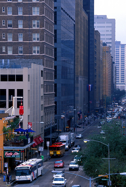 Aerial view of Texas Street in downtown Houston