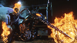 RELEASE DATE: February 16, 2007. STUDIO: Columbia Pictures. PLOT: Based on the Marvel character, stunt motorcyclist Johnny Blaze gives up his soul to become a hellblazing vigilante, to fight against power hungry Blackheart, the son of the devil himself. PICTURED: Actor NICOLAS CAGE as Ghost Rider. (Credit Image: © Entertainment Pictures/Entertainment Pictures/ZUMAPRESS.com)
