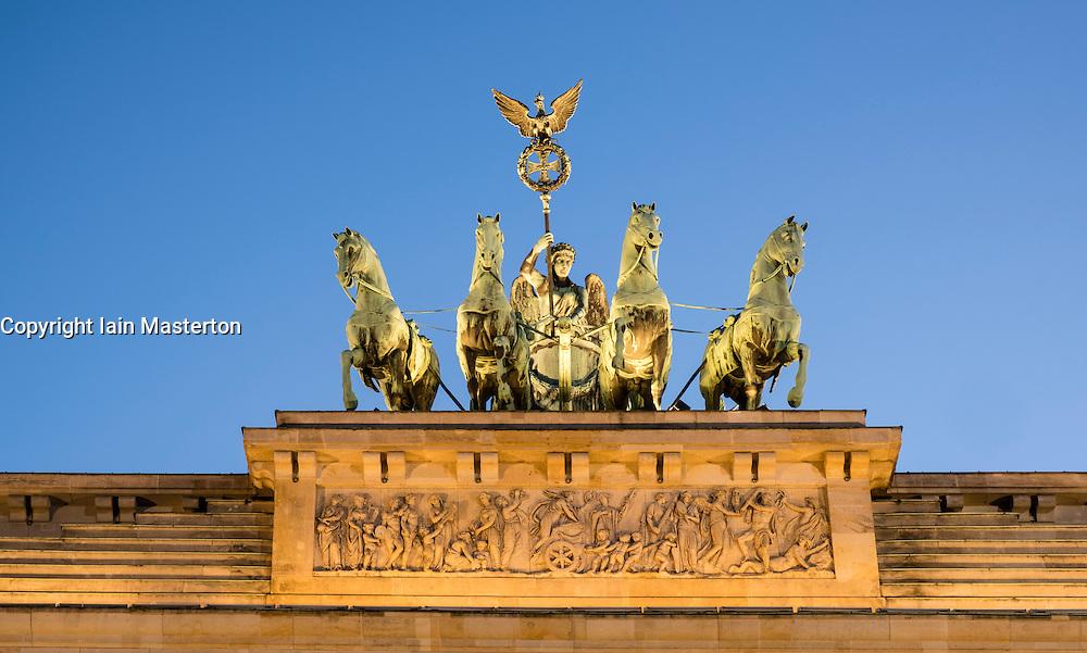 Detail of Quadriga on top of Brandenburg Gate in Berlin Germany