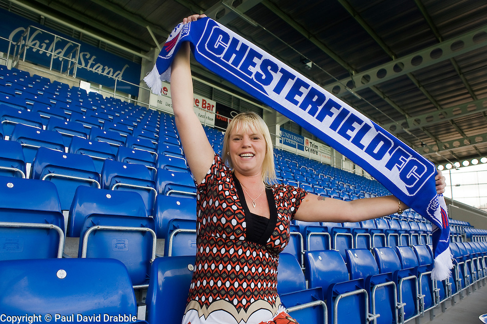 Karen Childs has Chesterfield Home Stand Named after her at thier new B2Net Stadium 16 September 2010 .Images © Paul David Drabble