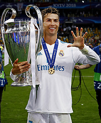 Cristiano Ronaldo of Real Madrid CF celebrating his fifth Champions League trophy during the UEFA Champions League final between Real Madrid and Liverpool on May 26, 2018 at NSC Olimpiyskiy Stadium in Kyiv, Ukraine