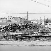 Y-560427-01. Vaughn St. Baseball stadium being torn down. April 27, 1956