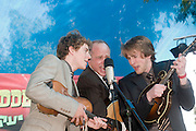 Israel, Nof Ginosar, the Abrams Brothers on stage at an outdoor concert. A Bluegrass Gospel Music band from Canada. James (left) John (right) with their father Brian May 2008