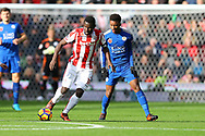 Mame Biram Diouf of Stoke City shields the ball from Demarai Gray of Leicester City. Premier league match, Stoke City v Leicester City at the Bet365 Stadium in Stoke on Trent, Staffs on Saturday 4th November 2017.<br /> pic by Chris Stading, Andrew Orchard sports photography.