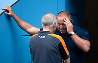 Football - 2019 / 2020 Gallagher Premiership Rugby - New Season Launch Media Photocall<br /> <br /> Sale Sharks' Director of Rugby Steve Diamond in conversation with Worcester Warriors' Director of Rugby Alan Solomons, at Twickenham.<br /> <br /> COLORSPORT/ASHLEY WESTERN
