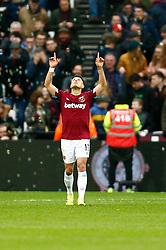 Javier Hernandez of West Ham United scores and celebrates - Mandatory by-line: Phil Chaplin/JMP - 16/03/2019 - FOOTBALL - London Stadium - London, England - West Ham United v Huddersfield Town - Premier League