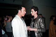 PETROC SESTI; ERIN O'CONNOR, 30 Years Of i-D - book launch. Q Book 5-8 Lower John Street, London . 4 November 2010. -DO NOT ARCHIVE-© Copyright Photograph by Dafydd Jones. 248 Clapham Rd. London SW9 0PZ. Tel 0207 820 0771. www.dafjones.com.