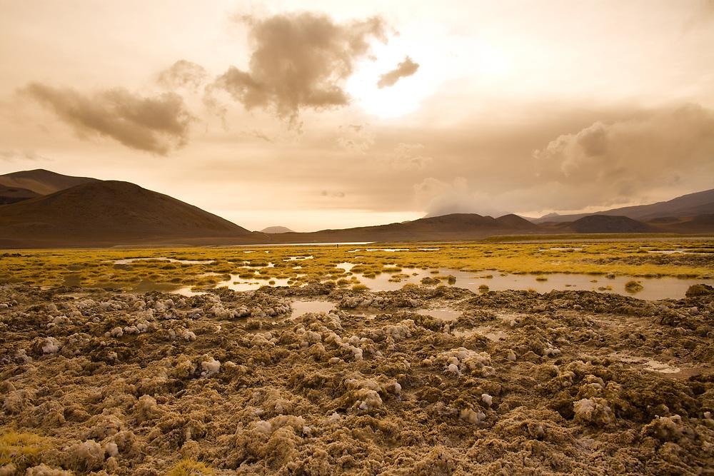 Salt crust at the shore of Lagoon and salt lake Tuyajto at an altitude of 4300m, Altiplano (high Andean Plateau), Los Flamencos National Reserve, Atacama desert, Antofagasta Region, Chile