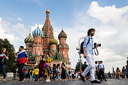 July 13, 2018 - Moscow, Russia - 180713 People har walking in front of The Saint Basil's Cathedral at the Red Square during the FIFA World Cup on July 13, 2018 in Moscow..Photo: Petter Arvidson / BILDBYRN / kod PA / 92086 (Credit Image: © Petter Arvidson/Bildbyran via ZUMA Press)