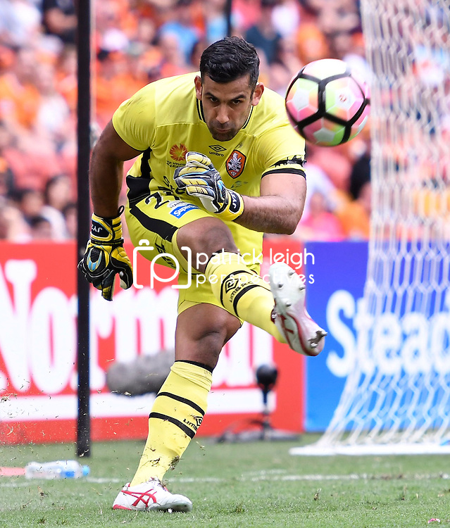BRISBANE, AUSTRALIA - DECEMBER 11: Jamie Young of the Roar kicks the ball during the round 10 Hyundai A-League match between the Brisbane Roar and Adelaide United at Suncorp Stadium on December 11, 2016 in Brisbane, Australia. (Photo by Patrick Kearney/Brisbane Roar)
